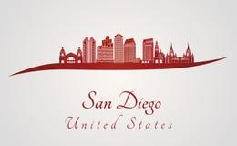San Diego skyline in red Stock Photos