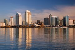 San Diego from Coronado Island. The San Diego skyline is reflected in the waters of the Bay, as seen from Coronado Island royalty free stock image