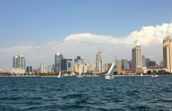 San Diego Skyline with Sail Boats. From the Water stock photo