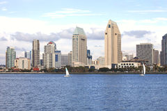 San Diego skyline & sailboats. San Diego skyline with sailboats and cool afternoon Stock Photo