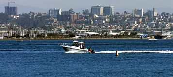 San Diego Skyline with Sailboats, America. Stock Image