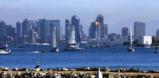 San Diego Skyline with Sailboats, America. Royalty Free Stock Images