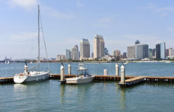 San Diego skyline and sailboats in a marina California. Stock Photo