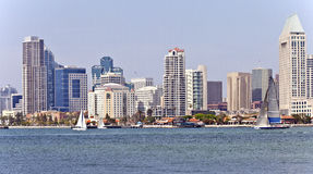 San Diego skyline and sailboats. Royalty Free Stock Images