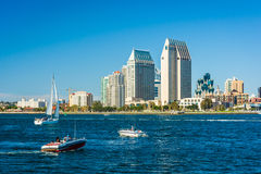 The San Diego skyline seen from Centennial Park, in Coronado, Ca Royalty Free Stock Image