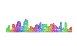 San Diego skyline silhouette - multicolor line art Royalty Free Stock Image