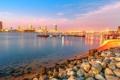 San Diego Skyline Sunset fotos de archivo