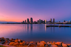 San Diego Skyline At Sunset Stock Photo