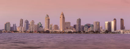 San Diego skyline at sunset. CA royalty free stock photography