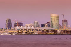San Diego skyline at sunset. CA royalty free stock image