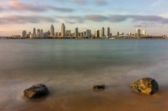 San Diego Skyline. The San Diego skyline at sunset from Coronado Royalty Free Stock Photo