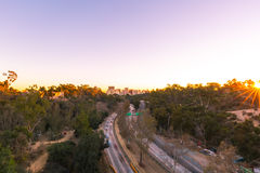 San Diego Skyline At Sunset. View of downtown San Diego at sunset from Balboa Park Stock Photography