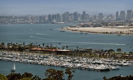 San Diego, Skyline und Jachthafen Stockfotografie
