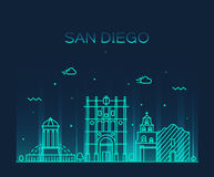 San Diego skyline vector illustration linear Stock Photo