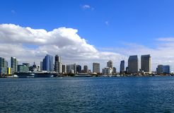 San Diego skyline view from the harbor. San Diego skyline view as seen from the Harbor stock photo