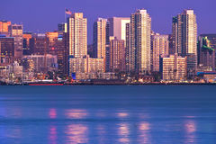 San Diego Skyline. Viewed from north, at sunset Stock Photography