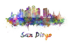 San Diego skyline in watercolor Stock Photo