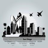 San Diego-Stadtbildvektor Lizenzfreie Stockfotos