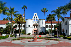 San Diego State University SDSU. Main building Hepner Hall and sun dial statue at San Diego State University in San Diego, California Royalty Free Stock Photo
