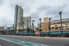 San Diego street view at Convention Center - CALIFORNIA, USA - MARCH 18, 2019. San Diego street view at Convention Center - CALIFORNIA, UNITED STATES - MARCH 18 stock images