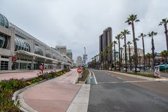 San Diego street view at Convention Center - CALIFORNIA, USA - MARCH 18, 2019. San Diego street view at Convention Center - CALIFORNIA, UNITED STATES - MARCH 18 stock image