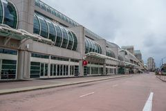 San Diego street view at Convention Center - CALIFORNIA, USA - MARCH 18, 2019. San Diego street view at Convention Center - CALIFORNIA, UNITED STATES - MARCH 18 royalty free stock images