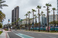 San Diego street view at Convention Center - CALIFORNIA, USA - MARCH 18, 2019. San Diego street view at Convention Center - CALIFORNIA, UNITED STATES - MARCH 18 royalty free stock photo