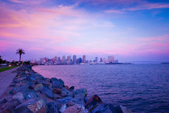 San Diego Sunset. Beautiful San Diego coastline at sunset with skyline in background Royalty Free Stock Photos