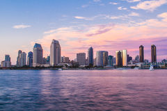 San Diego Sunset. Downtown San Diego view from Coronado Island stock photography