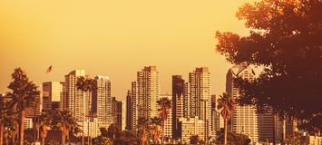 San Diego Sunset Panorama Royalty Free Stock Photo