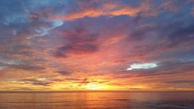 San Diego Sunset Red Sky. The clouds show many colors during the San Diego Sunset Royalty Free Stock Photos