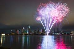 San Diego 4th av Juli fyrverkerier Royaltyfri Bild