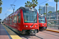 The San Diego Trolley. SAN DIEGO CA USA APRIL 8: The San Diego Trolley is a light rail system operating in the metropolitan area of San Diego on april 8 2015. It Royalty Free Stock Photography