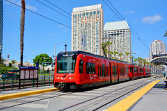 The San Diego Trolley. SAN DIEGO CA USA APRIL 8: The San Diego Trolley is a light rail system operating in the metropolitan area of San Diego on april 8 2015. It Royalty Free Stock Photo