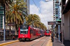 San Diego Trolleybussar Arkivbild