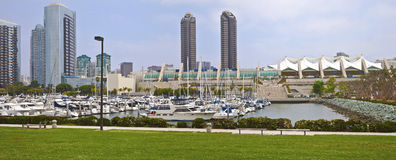 San Diego twin towers and Convention center California. San Diego downtown marina convention center and skyline panorama stock photography