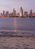 San Diego City Skyline Dusk Vertical Beach Coronad Stock Photos