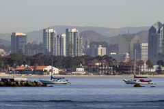 San Diego View From Sea. San Diego California view from a boat at sea. You can see Balboa cathedral tower in the middle Royalty Free Stock Images