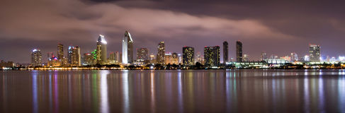 San Diego Waterfront Midnight Smooth Bay Stock Photos