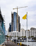 San Diego Waterfront Construction. This view of San Diego`s ever changing skyline is taken from the B Street Pier stock image