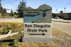 San Dieguito River Park Entrance Table Information Sign royalty free stock image