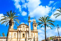 San Domenico church and square in Palermo, Sicily, Italy Stock Images