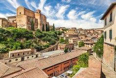 San Domenico kyrka, Siena, Italien Fotografering för Bildbyråer