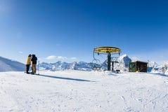 San Domenico, Varzo, Alpes, Italie, arrivée du chairl de remonte-pente photographie stock