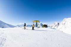 San Domenico, Varzo, Alps, Italy, Chairlift that goes upstream. On a sunny day no person Stock Images