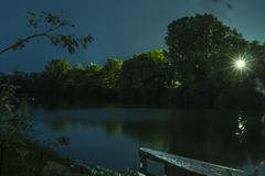 San Dona di Piave river. Long exposure of San Dona di Piave river by night Royalty Free Stock Photography
