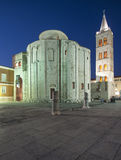 San donato church and bell tower of the cathedral at night zadar dalmatia croatia europe Royalty Free Stock Images