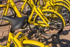 San Donato Milanese, Italy - November 15th, 2017: Ofo is a Chinese bike-sharing company Stock Images