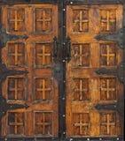 San Elizario Presidio Chapel doors. Decorative front doors of the San Elizario Presidio Chapel in San Elizario, Texas stock image
