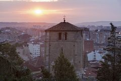 San Esteban Church in Burgos. At sunrise. Burgos, Castile and Leon, Spain Royalty Free Stock Photo